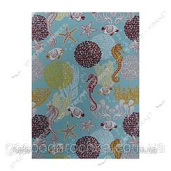 Коврик для ванной и туалета Аквамат Dekomarin Турция 80см Морской конек голубой