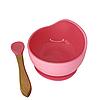 Силіконова тарілка на присосці з ложкою (рожевий)