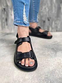 Сандалии женские 2021 из гладкой натуральной кожи на липучках, размеры от 36 до  40