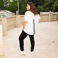 Женский Брючный Костюм с удлинённой сзади футболкой, Батал белый, 54-56