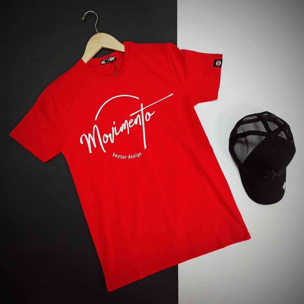 Мужская красная футболка с накатом на груди / Молодежная мужская футболка в спортивном стиле с принтом
