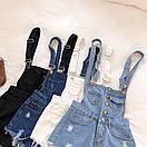 Женский джинсовый комбинезон Голубой, фото 3