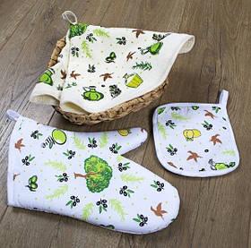 Кухонный набор Lotus Daily - Olive рукавица+прихватка+полотенце