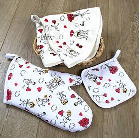 Кухонний набір Lotus Daily - Love is рукавиця+прихватки+рушник