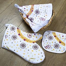 Кухонный набор Lotus Daily - Coffee time рукавица+прихватка+полотенце