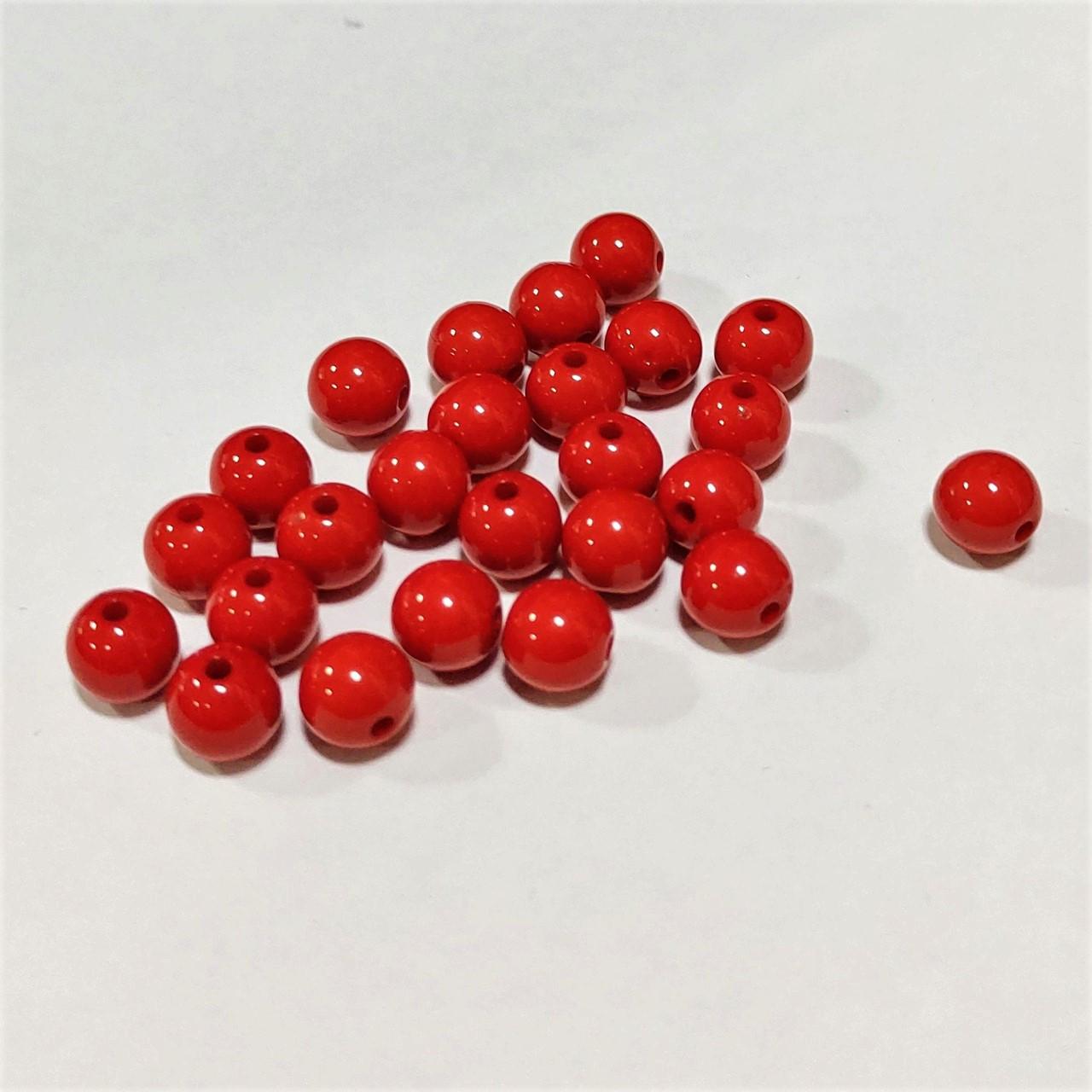 Намистини пластик 25 шт/ 0,8 см, червоні
