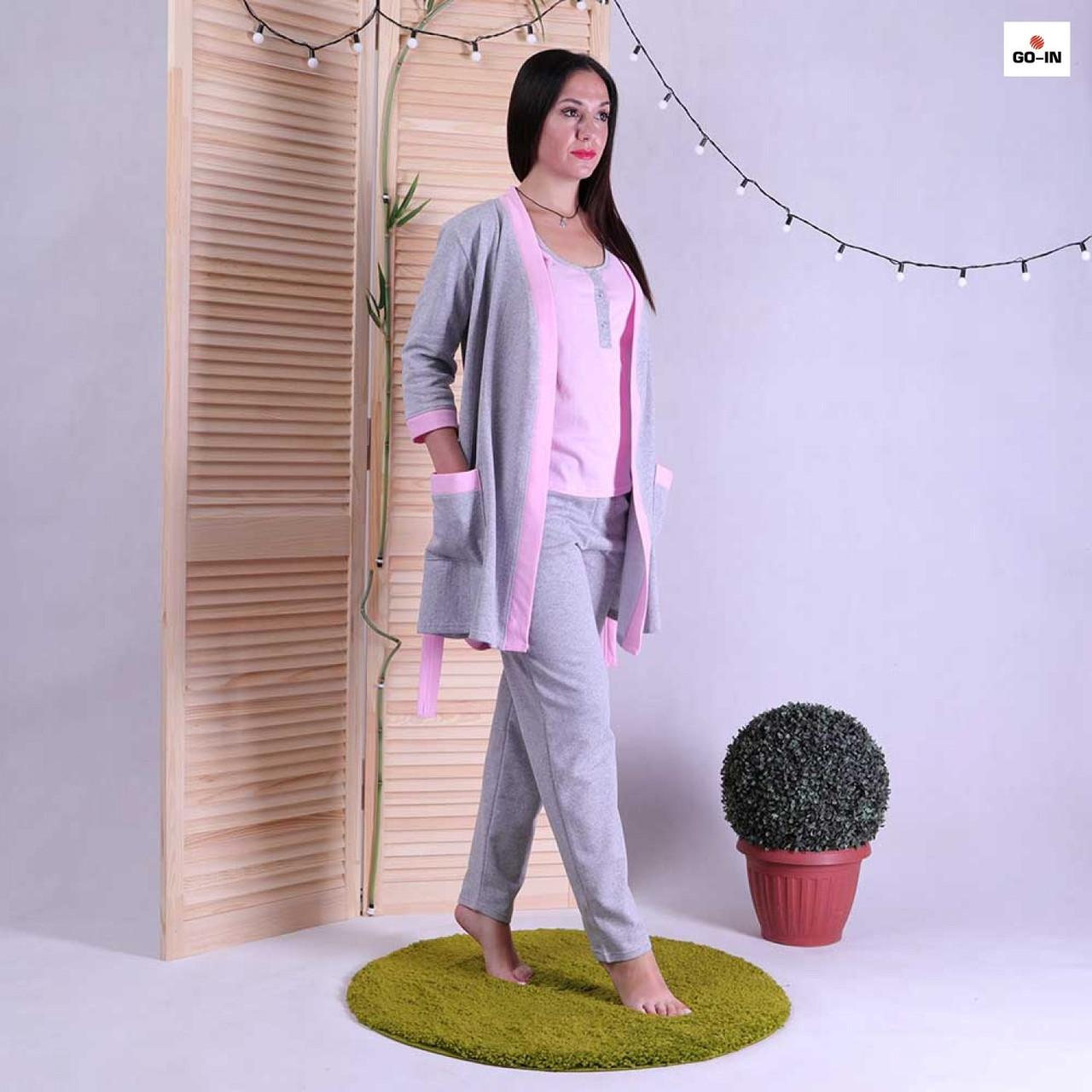 Женский теплый комплект тройка халат с пижамой р.42-54