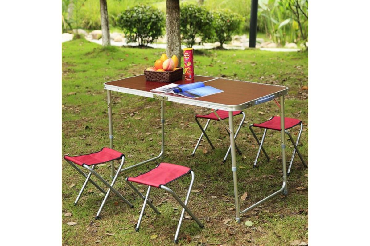 Стіл туристичний алюмінієвий складний + 4 крісла коричневий
