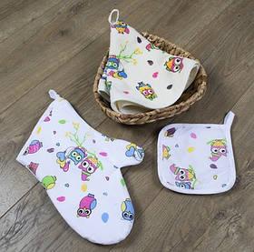 Кухонный набор Lotus Daily - Owls рукавица+прихватка+полотенце