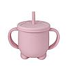 Силиконовая кружка для детей с крышкой и трубочкой (розоваяя)