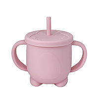 Силиконовая кружка для детей с крышкой и трубочкой (розоваяя), фото 1