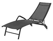 Шезлонг лежак садовый стальной с влагостойкой тканью черный (5 положений)