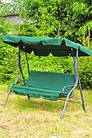Качеля садовая со стальным каркасом для дачи во двор зеленая 200 кг AVKO
