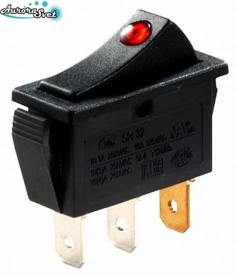 Кнопка - перемикач перекидний 250 В 16A з підсвічуванням черв. (точкової )