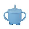 Силіконова гуртка для дітей з кришкою і трубочкою (блакитна)
