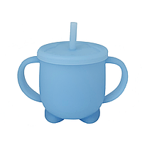 Силіконова гуртка для дітей з кришкою і трубочкою (блакитна), фото 1