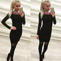 Элегантное женское платье, французский трикотаж и гипюр