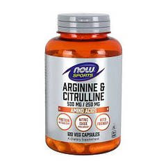 NOW Foods Arginine 500 mg & Citrulline 250 mg, Аргінін і цитрулін (120 капс.)
