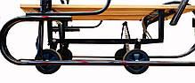 Детские санки металлические с выдвижными колесиками и ручкой для родителей, фото 2