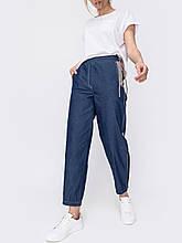 Джинсовые укороченные брюки с завышенной талией синие