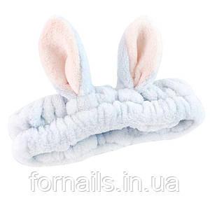 Повязка для умывания с длинными ушками, серо-голубая