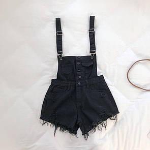 Женский джинсовый комбинезон в черном цвете
