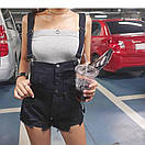 Женский джинсовый комбинезон в черном цвете, фото 2