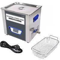TUC-100 ультразвукова ванна 10л, 120Вт, LCD дисплей, металевий, функиция дегазації, Jeken