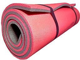 """Двухслойный толстый каремат 16 мм походный для туризма 1800х600 мм, красный/серый, """"Эверест"""""""