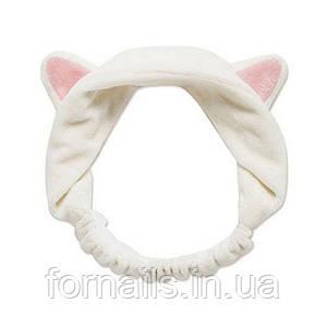 Повязка-кошка на голову с ушками, белая