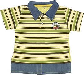 Дитяча футболка на хлопчика ріст 98 2-3 роки для малюків з коміром в смужку стильна трикотаж білий