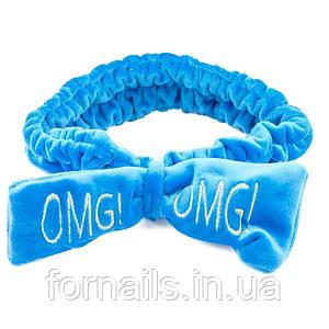 Повязка вельветовая OMG, голубая