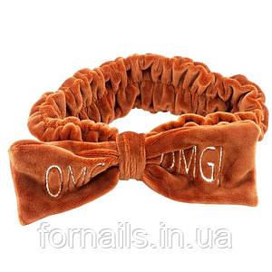Повязка вельветовая OMG, коричневая