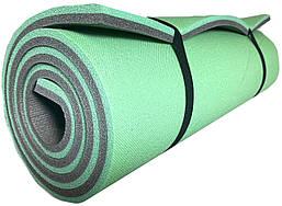 """Двухслойный толстый каремат 16 мм походный для туризма 1800х600 мм, зеленый/серый, """"Эверест"""""""