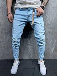Чоловічі завужені джинси (блакитні) рвані на літо S6154