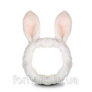Повязка для умывания белая с розовыми ушками