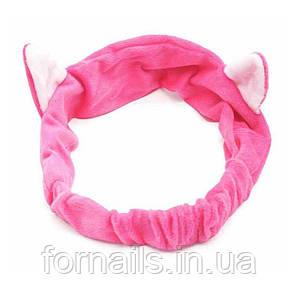 Повязка-кошка на голову с ушками, розовая
