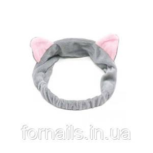 Повязка-кошка на голову с ушками, серая