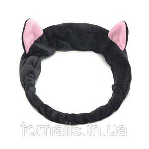 Повязка-кошка на голову с ушками, черная