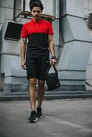 Костюм Футболка Поло черная-красная + Шорты.