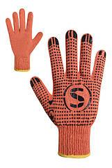 Рукавички трикотажні з ПВХ крапкою помаранчеві 74210