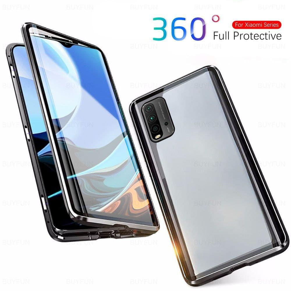 Магнитный металл чехол FULL GLASS 360° для Xiaomi Redmi 9T