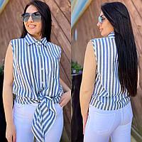 Женская летняя льняная рубашка без рукава