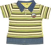 Детская футболка на мальчика рост 104 3-4 года для детей с воротником в полоску стильная трикотаж салатовая