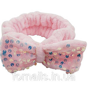Повязка для умывания пайетки, ярко-розовая
