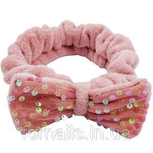 Повязка для умывания пайетки, бледно-розовая