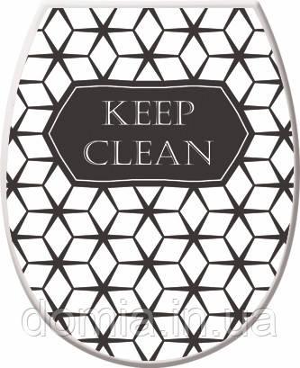 Кришка для унітазу c малюнком Keep Clean (36.5*45*3.5 см), Elif Plastik Туреччина Е-372