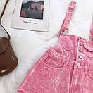 Женский джинсовый комбинезон в розовом цвете, фото 3