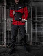 Спортивный костюм мужской I Ветровка красная - черная+Штаны черные+ Барсетка