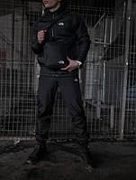 Спортивный мужской костюм Ветровка черная+Штаны черные осенний / весенний комплект